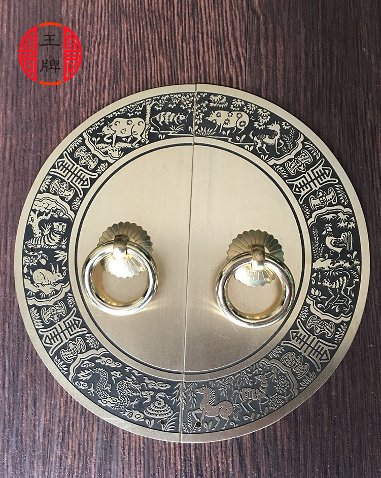 The new Chinese antique furniture of Ming and Qing Dynasties pastoral circular plate copper fittings copper handle door handle cThe new Chinese antique furniture of Ming and Qing Dynasties pastoral circular plate copper fittings copper handle door handle c