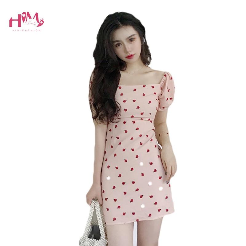 Women Sexy Summer Rose Floral Print Mini Dress Korean Chic Short Sleeve Slash Neck Tunic Dress Swing Slim Evening Party Dresses