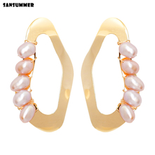 Sansummer 2019 New Hot Fashion Golden Hollow Irregular Circle Freshwater Pearls Drop Earrings For Women Jewelry 7022g