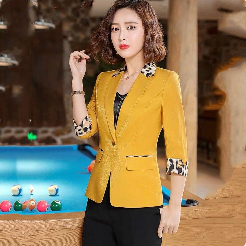 High Quality Women's Spring Autumn Leopard Blazer 2019 Fashion Temperament Casual Retro Short Retro Chic Office Versatile Jacket