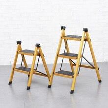 Многофункциональная противоскользящая лестница, 3 ступеньки, безопасная ступенька, портативная ступенька, табуреты с поддоном для инструментов, золотистый цвет