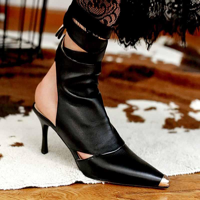 Krazing Pot 2019 echt leer enkel lace up stiletto hoge hakken zomer laarzen hoge hakken luxe puntschoen Lente schoenen l30-in Enkellaars van Schoenen op  Groep 3