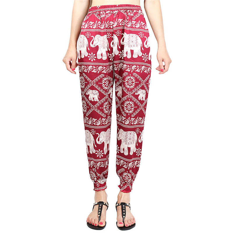 Loose Harem Pant High Waist Show Thin Printed Women's Wear Casual Ankle-Length Trousers Pockets 30