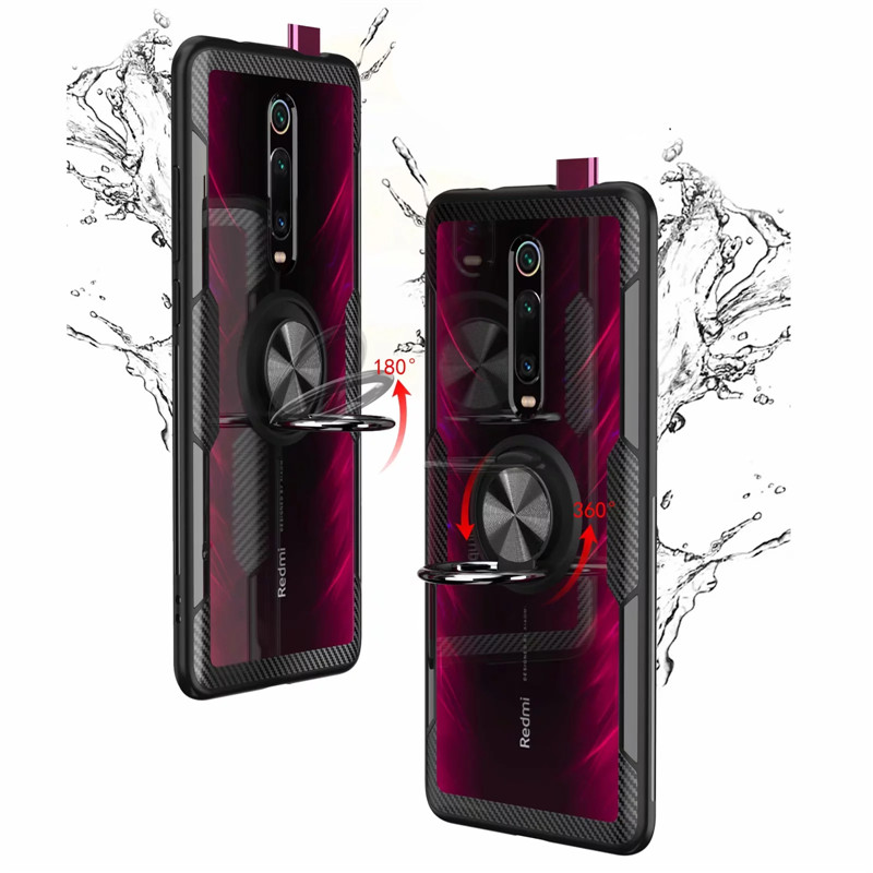 Image 3 - For Xiaomi Mi9T Mi 9T Pro Case Luxury Magnetic Ring Transparent Clear Glass Back Cover for Redmi K20 Pro Car holder Stand Cases-in Fitted Cases from Cellphones & Telecommunications