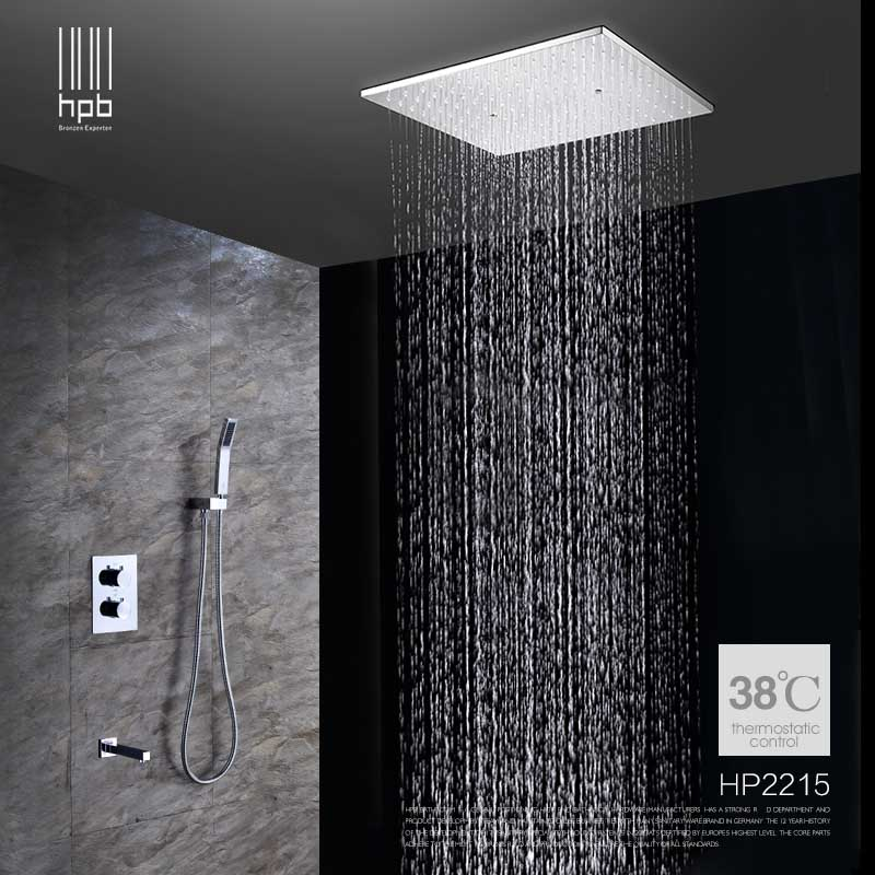 Superbe HPB Ceiling Mounted Big Rainfall Shower Head System Bath Rain Mixer Shower  Combo Set Brass Polished Chrome With Concealed Box