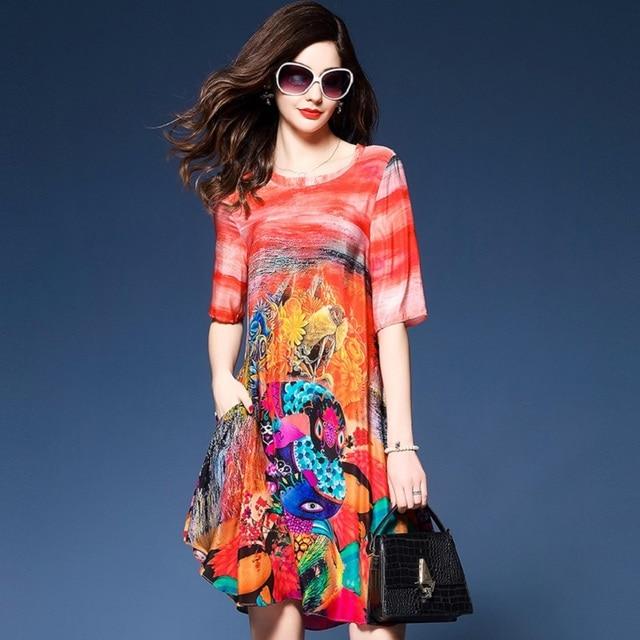 db3c470d50ab72 H 2018 letnia sukienka moda ekskluzywna sukienka Slik szyfonowa sukienka w  stylu Vintage Print