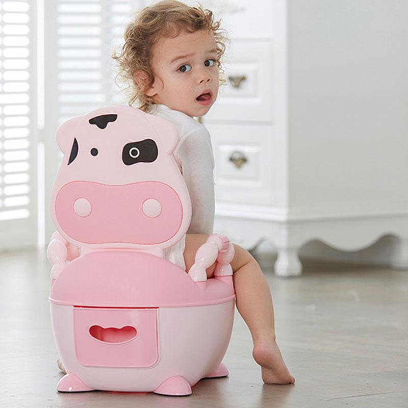 Cute Animal Cows Baby Pot Infantil Portable Toilet Baby Potty Toilet Bowl Toilet Seat For Babies Kids  Backrest  Potty Training