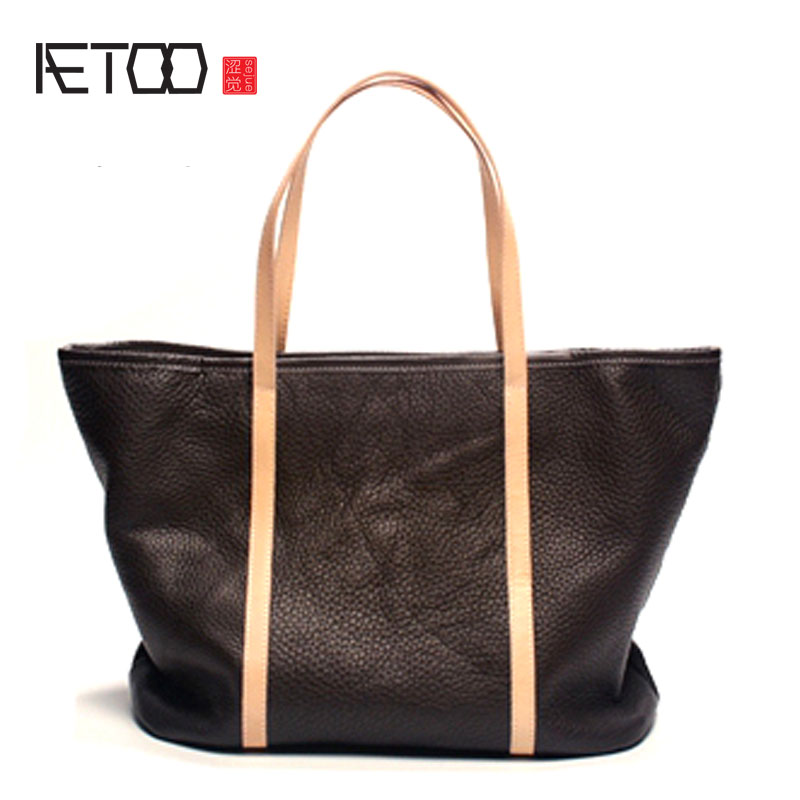 AETOO Original leather handbags new first layer of leather simple package fashion hand-held art shoulder bag hand carry Tote bag travel tale fashion cat and dog capsule pet cartoon bag hand held portable package backpack