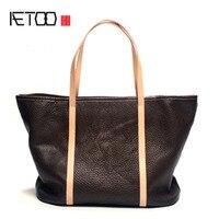 AETOO Originele lederen handtassen nieuwe eerste laag van leer eenvoudige pakket mode handbediende art schoudertas hand carry draagtas