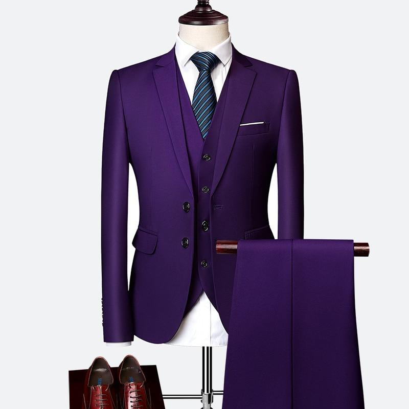 Plus size 5XL 6XL Blazer+Vest+Pants Soild Color Two-button Men's Business Suit Three-piece Italian Style Groom Best man Suit Red/Navy Blue/White Yellow Men Suits