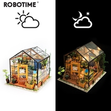 Miniature Doll House DIY Kathy's Green Garden with Furniture Children Adult Model Building Kits Dollhouse DG104 robotime diy simon s coffee with furnitures children adult miniature wooden doll house model building kits dollhouse toys dg109