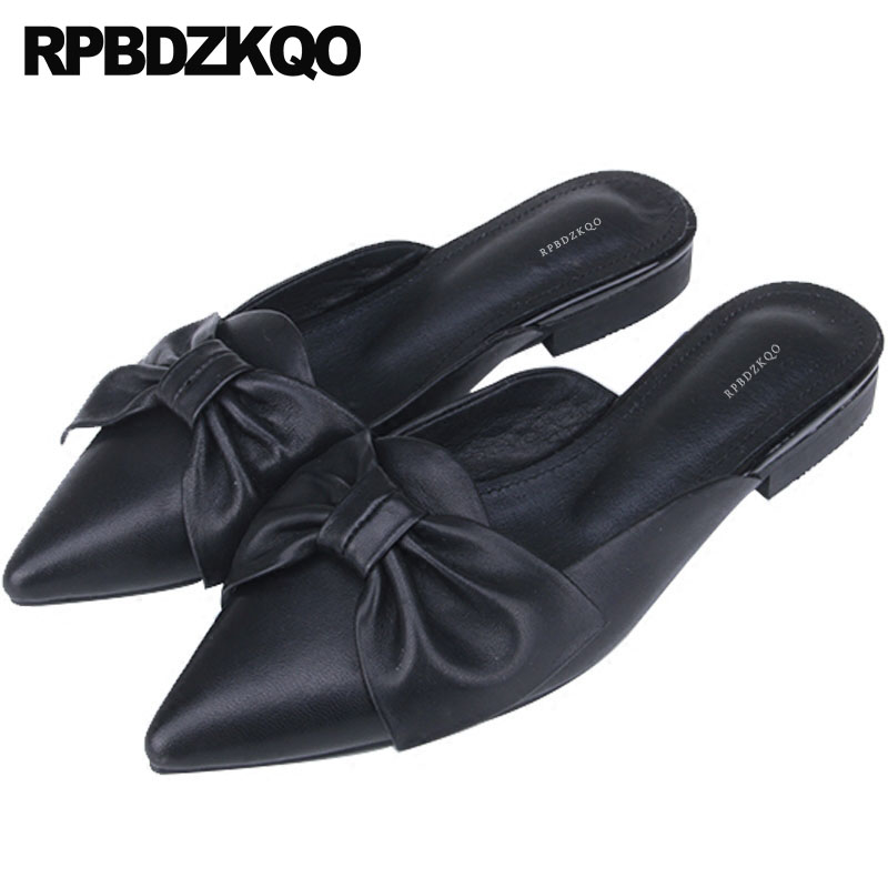 Black Italian Pointy Mules Flats China Women Dress Shoes Chinese Designer Sandals Bow Slippers 2018 Pointed Toe Genuine Leather 2018 large size summer korean slides pearl slippers pointed toe designer women sandals ladies china mules beautiful flats shoes