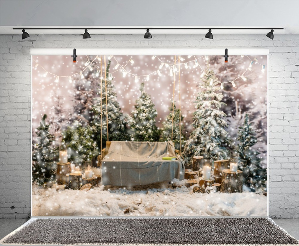 Laeacco Photography Backdrops Dreamy Light Bulb Pine Snow Polka Dots Christmas Candle Scenic Backgrounds Photocall Photo Studio in Background from Consumer Electronics