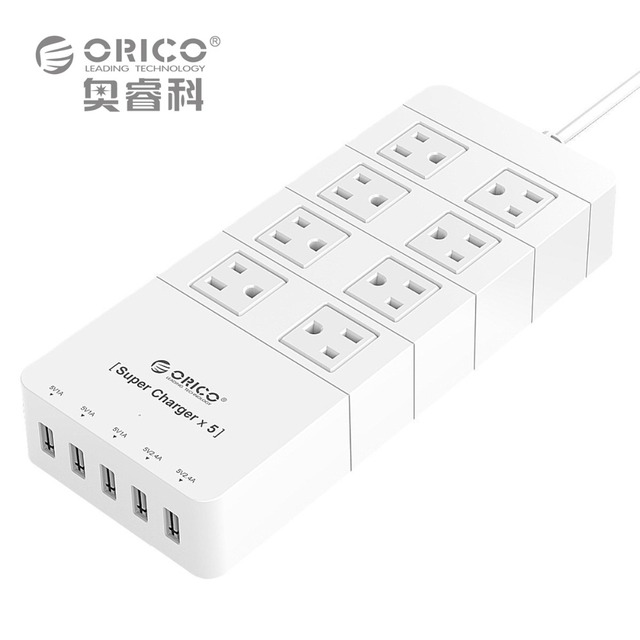 ORICO HPC-8A5U-US-WH Family Size 8 Outlet Surge Protector Power Strip with 5 Port 40W USB Charger for iPhone 6s/6/6 plus (white)