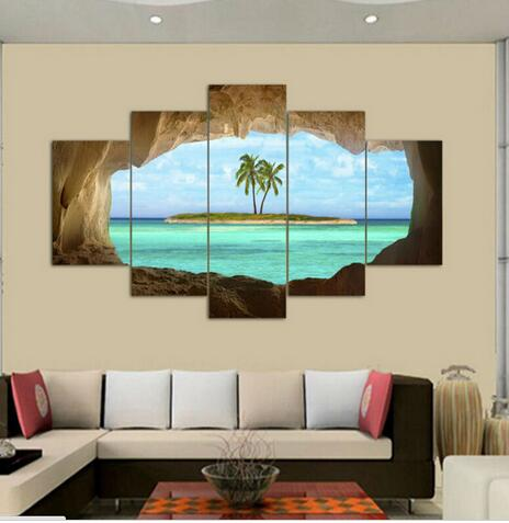 Wall Art Oil Painting 5 Panel Canvas Seacape Living Rooms Set On For Home Decor Ideas