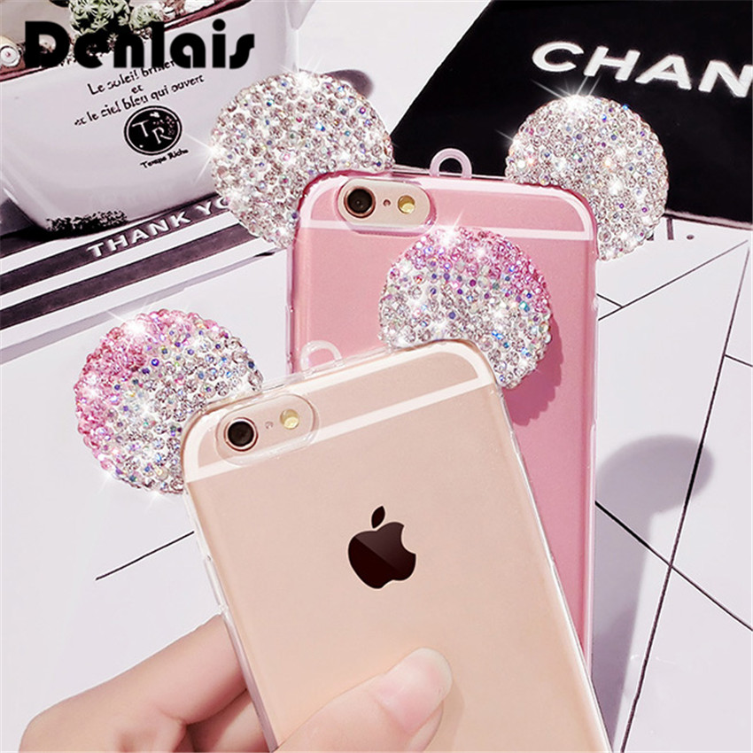 Bling Luxury Crystal Rhinestone Mickey Ears Cartoon Case For iPhone 5s 6 6s Plus 7 7plus 8 X Protect Cover Clear Thin Coque Capa