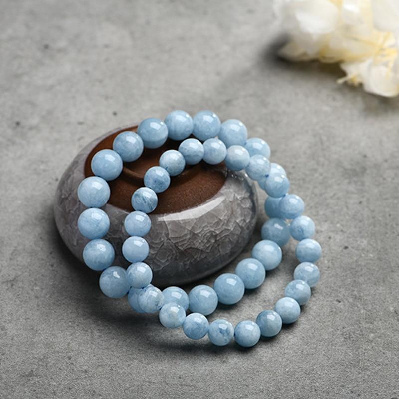 HTB1a.gVpbZnBKNjSZFGq6zt3FXaS Natural Aquamarine Bracelet Single Circle Crystal Bracelet Jewelry 6-10mm Beads Romantic Casual Crystal Yoga Bracelet