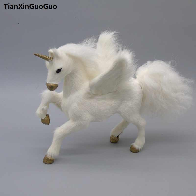 dfa0b0e67a4d Большой 23x14x20 см фигурка белого коня Единорог Твердые игрушечные модели  полиэтилен и меха ремесленных украшения дома