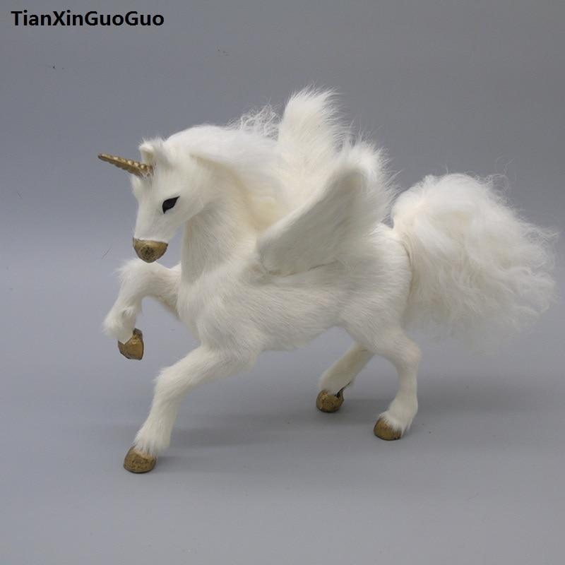 large 23x14x20cm simulation white horse unicorn hard model toy polyethylene&furs handicraft home decoration birthday gift s0442 new simulation white horse toy polyethylene