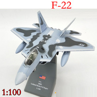 Amer USA F22 Raptor Fight Aircraft 1/100 Finished Alloy Model Toy For Collect Gift