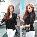 Новый Сексуальный Женщин короткий стиль Кружева с длинным рукавом One Button держите fit блузка Куртка мода Костюм Топы 63 #