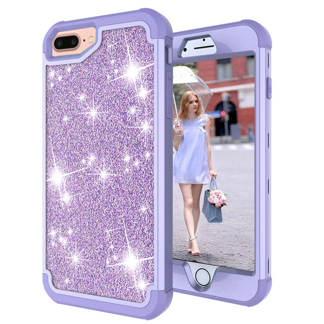 coque iphone 8 purple glitter