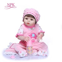 NPK 57 см полный Силиконовый Reborn Baby Doll Kid Playmate подарок для девочек винил девочка жива мягкие игрушки для Bebes Reborn Brinquedo