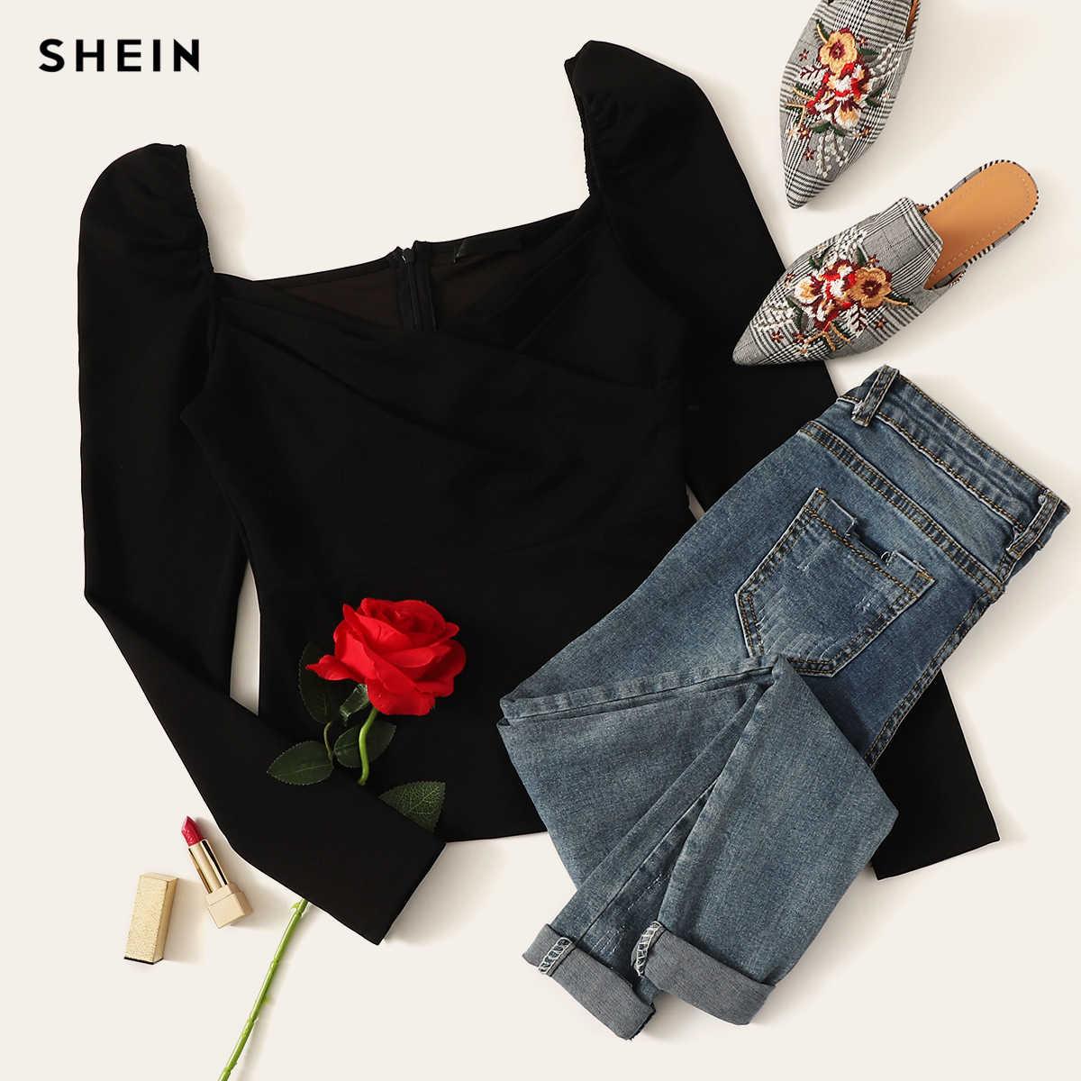 Shein sexy zip voltar puff manga fina cabida envoltório querida pescoço blusa feminina sólido topo primavera clube blusas de rua alta