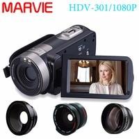 Marvie hdv 301 FHD 1080 P цифрового видео Камера видеокамера Ночное видение Широкий формат Макро Рыбий Стрельба 24mp 3 дюймов Экран