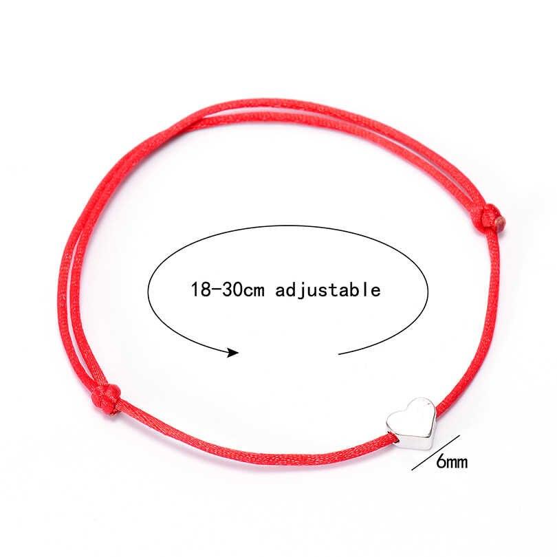 VEKNO Lucky браслеты с сердечками для женщин и мужчин Многоцветный Веревка регулируемый шнур браслет DIY ручной работы дружбы лучшие подарки ювелирные изделия