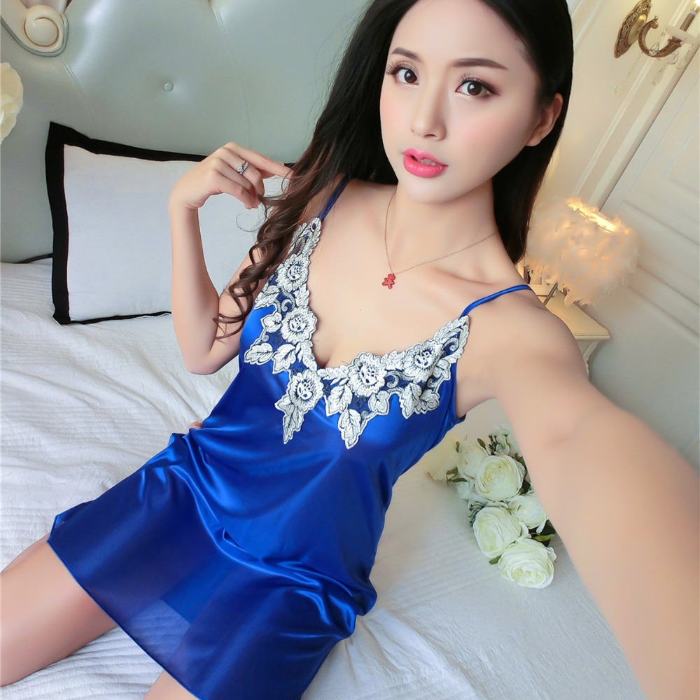Foply Womens Nightgowns Flower Embroidery Neck Sleeveless Nightgdress Faux Silk Nightshirts Female Casual Loose Sleepwear
