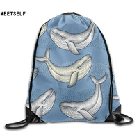 3D Print Colorful Whale Patterns Shoulders Bag Women Fabric Backpack Girls Beam Port Drawstring Travel Shoes