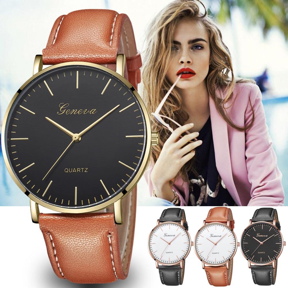 GENEVA Fashion Leather Watches Women's Casual Quartz Analog Watches Girls Bracelets Ladies Montre Dress Watch Bayan Kol Saati Ff