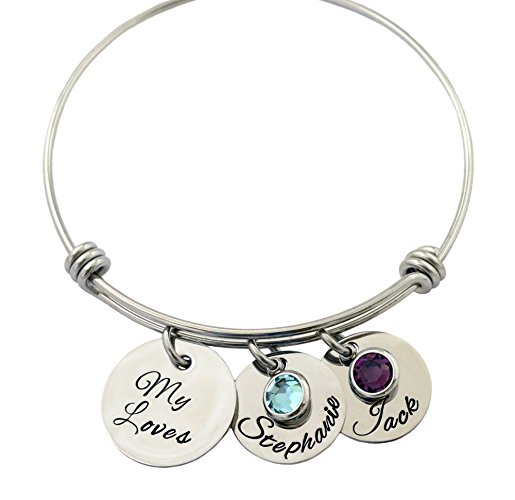Stainless Steel Letter Bangles Custom Made Names & Birthstone Gift for Mom and Kids Fami ...