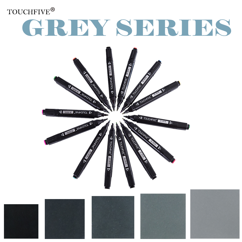 Touchfive Double-Ended Alcohol Based Ink Neutral Gray Color Sketch Art Markers set Gray Tones marker brush Student Supplies touchfive gray tone art marker set alcohol based brush pen liner sketch markers touch twin for manga anime drawing art supplies