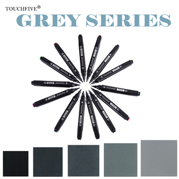 Touchfive Double-Ended Alcohol Based Ink Neutral Gray Color Sketch Art  Markers set Gray Tones marker brush Student Supplies