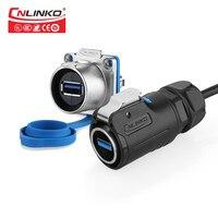 CNLINKO M24 USB3.0 1.5A wasserdichte IP67connector mit abdeckung panel mount12v buchse usb3.0 stecker für löten mit 0 5 m kabel-in Steckverbinder aus Licht & Beleuchtung bei