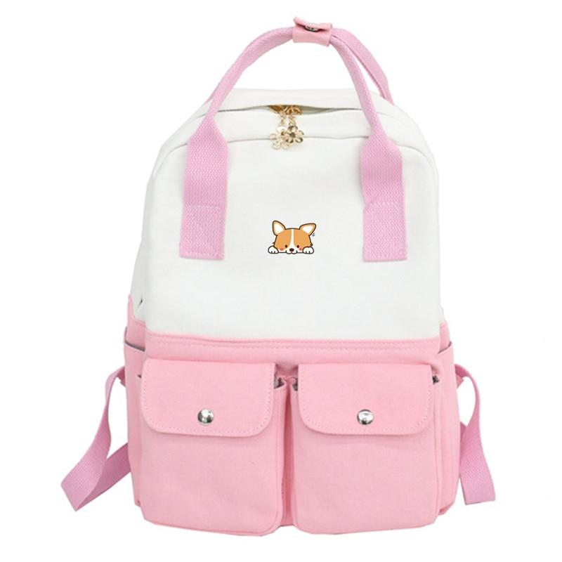 Corgi Women Cute Bagpack Shiba Inu Kawaii Doge Print Canvas School Bags Travel Back Pack Harajuku Shoulder Bags Rucksack Women