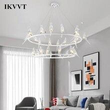 IKVVT lámpara colgante de pájaro de cristal, diseño nórdico creativo, sala de estar modernas para luces colgantes, dormitorio, restaurante, colgante con diseño relacionado al café