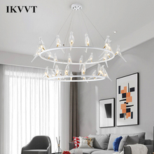 IKVVT lampe suspendue en verre à la forme doiseau, design nordique créatif, design nordique moderne, luminaire dintérieur, idéal pour un salon, une chambre à coucher, un Restaurant ou un café