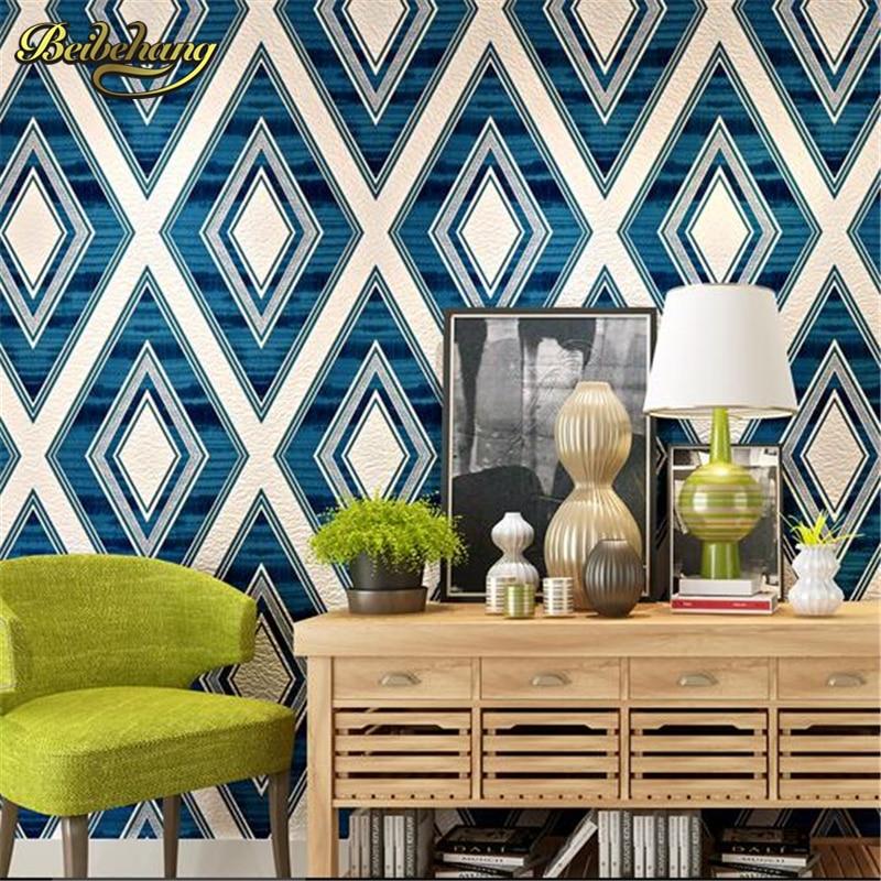 beibehang Modern minimalist diamond lattice deer stripe non - woven wallpaper bedroom bedroom living room background wallpaper