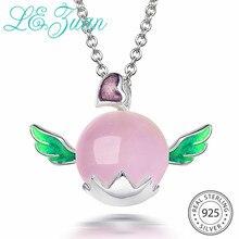 L& zuan, 925 пробы, серебряные ювелирные изделия, ожерелье с натуральным розовым кварцем, настоящая эмаль, Трендовое, любовь, сердце, ангел, Подвеска для женщин