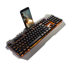 AJAZZ 104 Keys Gaming Keyboards USB Wired Mechanical Feel Keyboard Yellow Backlight Waterproof Alloy Panel for With Phone Holder