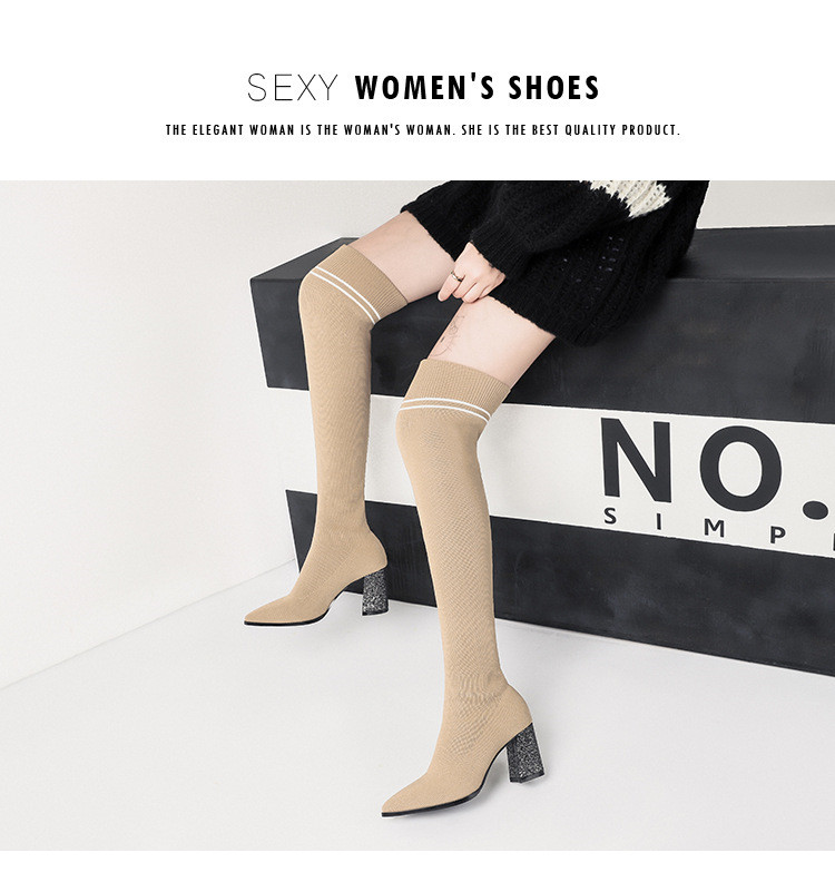 f18ff30ade2f Fall Winter Block Heels Knit Stretch Thigh High Boots Women Shoes ...