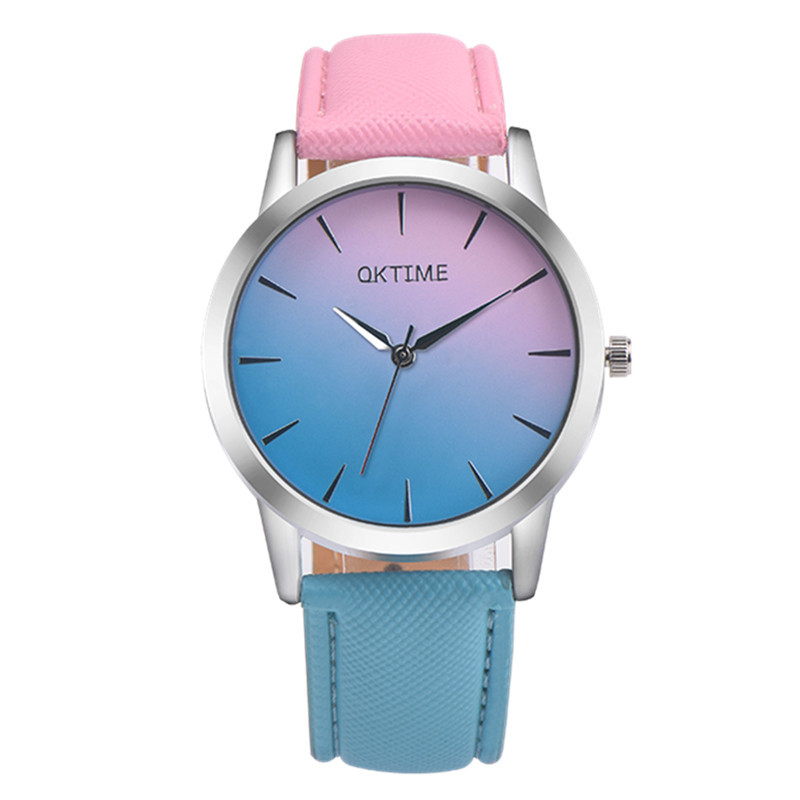2017 Fashion Rainbow Girl Simple Watch Cute Quartz Watches for Girls Leather Strap Wristwatch for Young Women Minimalist Relogio new chaos abstract design simple watches for young people rebirth fashion brand quartz watch with comfortable leather strap