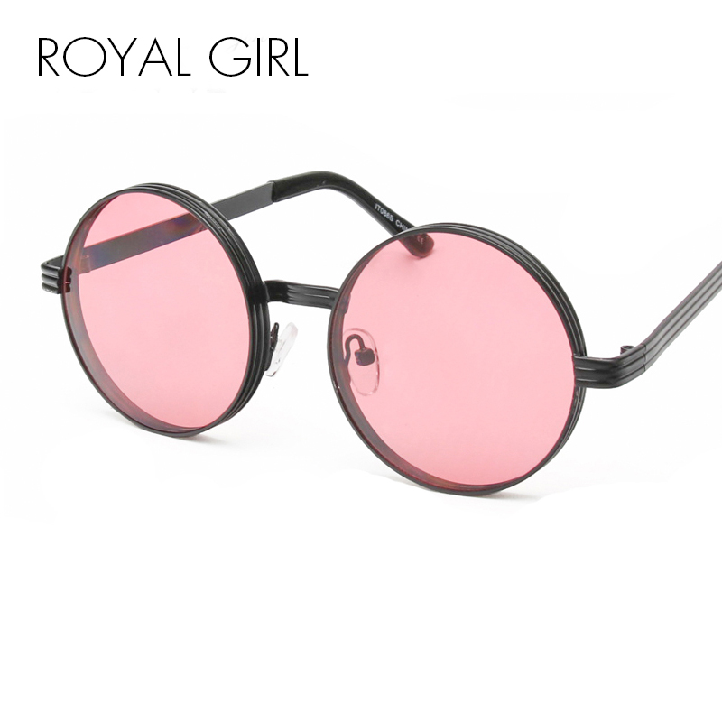 ROYAL GIRL New Women Round Sunglasses Metal Vintage Steampunk Brand Designer Men Glasses UV400 SS322