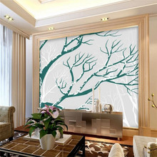 Hand-painted tree branches TV background wall professional production murals wholesale wallpaper murals custom photo wall
