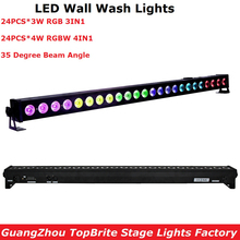 цены Free Shipping 24X4W RGBW 4IN1 LED Wall Washer Light Indoor DMX Wash Bar Light LED Stage Lighting Effect Good For Dj Disco Partys
