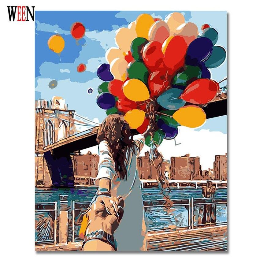 WEEN Romantique Peinture À L'huile Par Numéros Sur Toile DIY Couple avec ballons Peint À La Main Coloration Par des numéros Home Decor No Frame