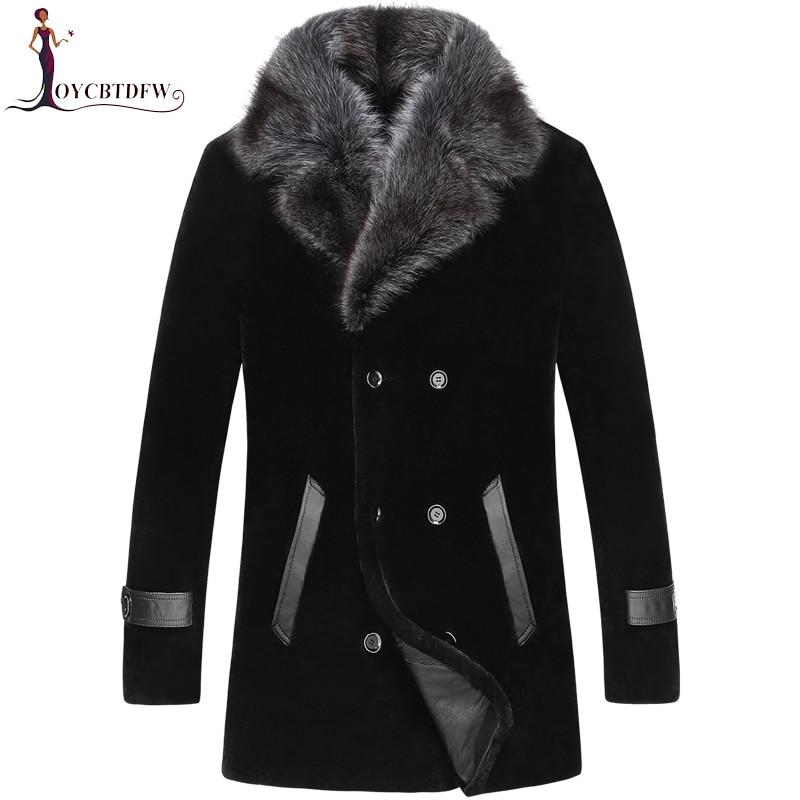 2018 Direct Selling Sale Palto Large Size Winter Sheep Shearing Outerwear Men One piece Coat Long Mink Collar Wool Jacket No454